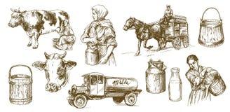 Vache, lait, laitages illustration stock
