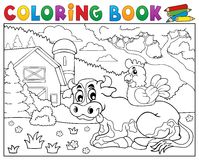 Vache à livre de coloriage près du thème 3 de ferme Images stock
