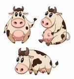 Vache mignonne à dessin animé Images libres de droits