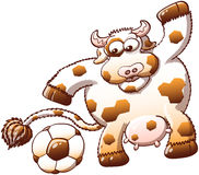 Vache mignonne étonnée en découvrant un ballon de football Images stock