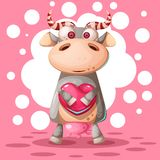 Vache mignonne avec le ballon à air de coeur Illustration d'amour illustration stock