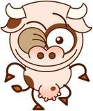 Vache mignonne clignant de l'oeil malfaisant Images libres de droits