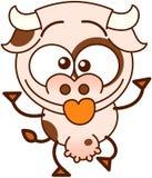 Vache mignonne faisant les visages drôles Images stock