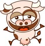 Vache mignonne riant avec enthousiasme Photos libres de droits