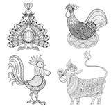 Vache, poulet dans le nid, coq, Turquie pour la page adulte de coloration, z Photographie stock