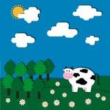 Vache sur l'illustration de vecteur de pré Images stock