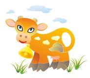 Vache tachetée avec une cloche Images libres de droits