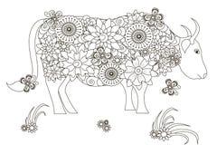 Vache tirée par la main, anti strress noirs et blancs Images stock