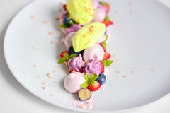 Vacherin | Basil Ice Cream | Meringue de myrtille | Guimauves de fraise Photographie stock libre de droits