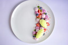 Vacherin | Basil Ice Cream | Meringue de myrtille | Guimauves de fraise Images libres de droits