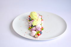 Vacherin | Basil Ice Cream | Meringue de myrtille | Guimauves de fraise Photos libres de droits