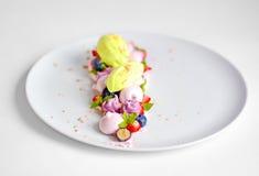 Vacherin | Basil Ice Cream | Meringue de myrtille | Guimauves de fraise image libre de droits