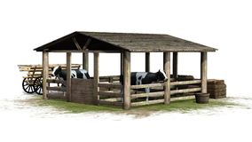 Vaches dans la grange sur le fond blanc Photos stock