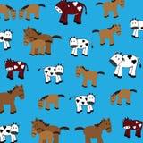 Vaches et chevaux mignons Photo libre de droits