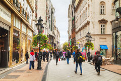 Vaci street crowded with tourists Stock Photography