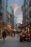 Vaci ulica w Budapest nocy widoku zdjęcia royalty free