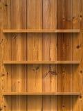 Vacie el estante de madera tres Imágenes de archivo libres de regalías