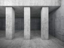 Vacie el interior concreto del sitio con las columnas, 3d ilustración del vector