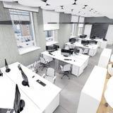 Vacie el lugar de trabajo interior de la oficina moderna encima de la visión Imágenes de archivo libres de regalías