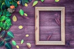 Vacie el marco de madera en superficie de madera marrón entre verde y amarillo Imágenes de archivo libres de regalías