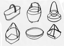 Vacie el sistema tejido de la cesta Fotos de archivo libres de regalías