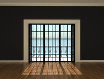 Vacie el sitio interior con las ventanas a la terraza Foto de archivo libre de regalías