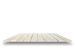 Vacie el top de la tabla de madera aislado en el fondo blanco, para el disp Imagen de archivo