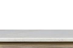 Vacie el top de la tabla de piedra mable blanca aislada en el backgroun blanco Imagen de archivo