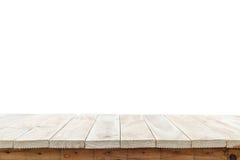 Vacie el top de la tabla o del contador de madera aislado en el backgroun blanco fotos de archivo libres de regalías