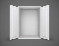 Vacie la caja blanca con las puertas abiertas y nada dentro Fotos de archivo