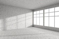 Vacie la esquina concreta manchada del sitio con las ventanas interiores ilustración del vector