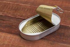 Vacie la lata abierta Imagen de archivo libre de regalías