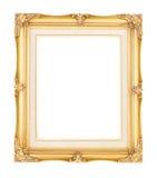 Vacie la madera dorada oro brillante con el marco interno del vintage de la lona encendido Foto de archivo