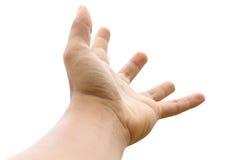 Vacie la mano abierta del hombre en el fondo blanco Imágenes de archivo libres de regalías