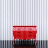 Vacie la pared ascendente falsa con el pecho de cajones rojo libre illustration