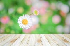 Vacie la vista superior de la tabla de madera en fondo del bokeh de la flor, para Fotos de archivo libres de regalías