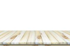 Vacie la vista superior de la tabla o contador y x28 de madera; shelf& x29; aislado en wh Foto de archivo libre de regalías