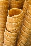 Vacie los conos de helado de la galleta Imágenes de archivo libres de regalías