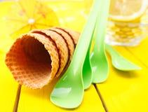 Vacie los conos de helado de la oblea del azúcar Fotografía de archivo libre de regalías