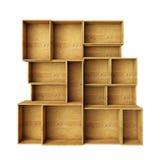Vacie los estantes de madera abstractos aislados en el fondo blanco