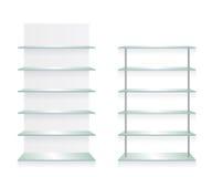 Vacie los estantes del vidrio de la tienda Imagen de archivo
