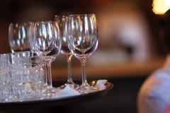 Vacie los vidrios de vino Imágenes de archivo libres de regalías