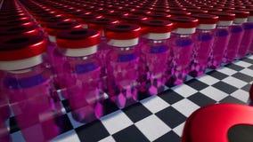 Vacinação tornando-se da medicamentação nova de vidro vermelha dos tubos de ensaio ilustração do vetor