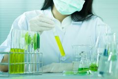 Vacina verde da descoberta da pesquisa do fitoterapia no laboratório de ciência foto de stock
