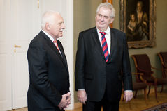 Vaclav Klaus and Milos Zeman Stock Photography