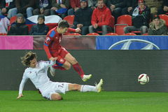 Vaclav Pilar and Janis Ikaunieks. Prague 28.03.2015 _ Match of the EURO 2016 qualification group A Czech Republic - Latvia 1:1 0:1. Goals 90 'Pilar - 30' Viš Royalty Free Stock Image
