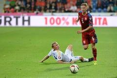 Vaclav Prochazka and Islambek Kuat. Pilsen 04/09/2015 _ Match of the EURO 2016 qualification group A Czech Republic - Kazakhstan Royalty Free Stock Photo