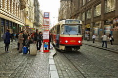 Vaclavske Namesti tram stop in Prague, Czech Republic Royalty Free Stock Images