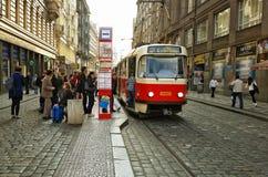 Vaclavske Namesti tram stop in Prague, Czech Republic Royalty Free Stock Images