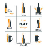 Vactor set flat beer icon design. Sign or Symbol. Stock Photography